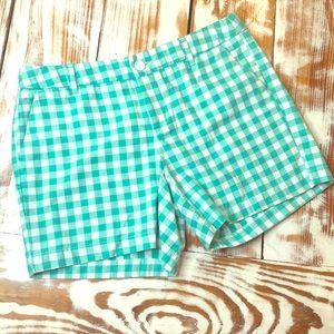 Merona Green & White Flat Front Gingham Shorts